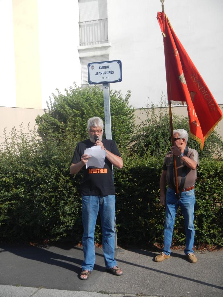 Commémoration de l'assassinat de J.Jaurès au Havre (intervention de P.Lebas pour l' IHS) Photo L.Bourlé